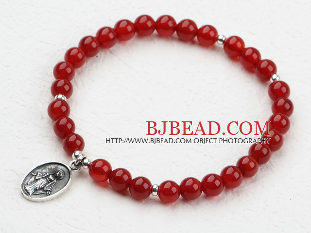 Classic Design 6mm Red Carnelian Beaded Elastic Bangle Bracelet with Sterling Silver Accesories