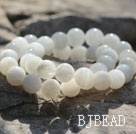 10mm Round White Moonstone Beaded Elastic Bangle Bracelet
