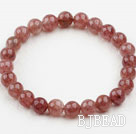 8mm Round Strawberry Quartz Elastic Bangle Bracelet