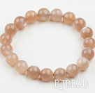 10mm Round Orange Color Moonstone Elastic Bangle Bracelet