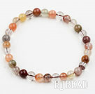 6mm Round Multi Color Qutilated Quartz Beaded Elastic Bangle Bracelet