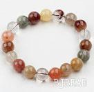 10mm Round Multi Color Qutilated Quartz Beaded Elastic Bangle Bracelet