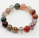 12mm Round Multi Color Qutilated Quartz Beaded Elastic Bangle Bracelet