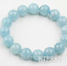 10mm A Grade Round Aquamarine Beaded Elastic Bangle Bracelet