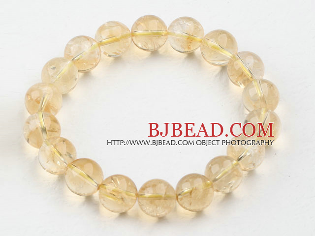 10mm Round Natural Citrine Beaded Elastic Bangle Bracelet