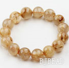 14mm Round Golden Rutilated Quartz Beaded Elastic Bangle Bracelet