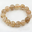 14-15mm Round Golden Rutilated Quartz Beaded Elastic Bangle Bracelet