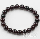 8-8.5mm A Grade Round Garnet Beaded Elastic Bangle Bracelet