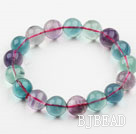 10mm A Grade Multi Color Fluorite Beaded Elastic Bangle Bracelet