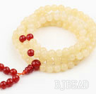 Light Yellow Jade and Carnelian Prayer Bracelet ( Total 108 Beads )