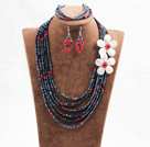 Beautiful 6 Layers Red & Black Crystal Beads Costume African Wedding Jewelry Set (Necklace, Bracelet & Earrings