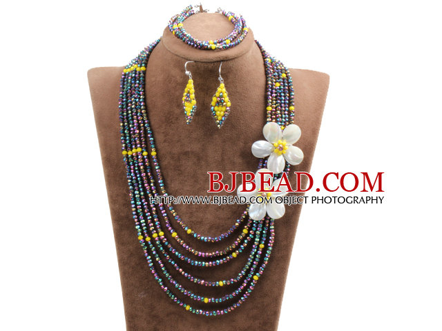 Beautiful 6 Layers Multi Color Crystal Beads Costume African Wedding Jewelry Set (Necklace, Bracelet & Earrings