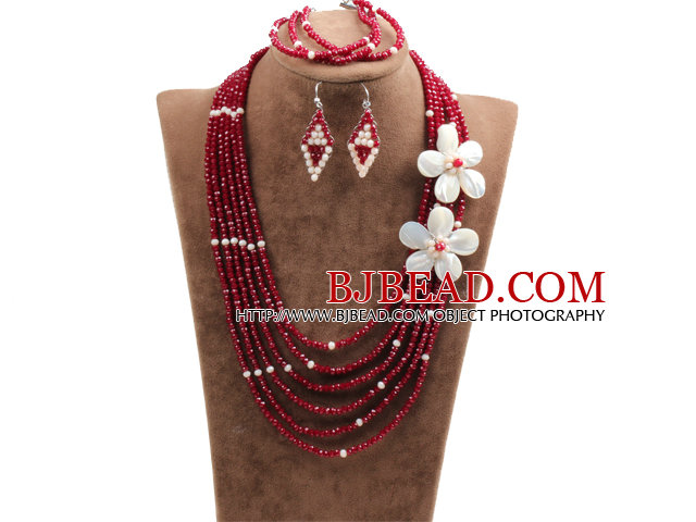 Beautiful 6 Layers Opal & Red Crystal Beads Costume African Wedding Jewelry Set (Necklace, Bracelet & Earrings