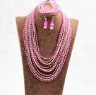 Fantastic Statement 10 Layers Rose Red & Pink Crystal African Wedding Jewelry Set (Necklace, Bracelet & Earrings) under $ 100