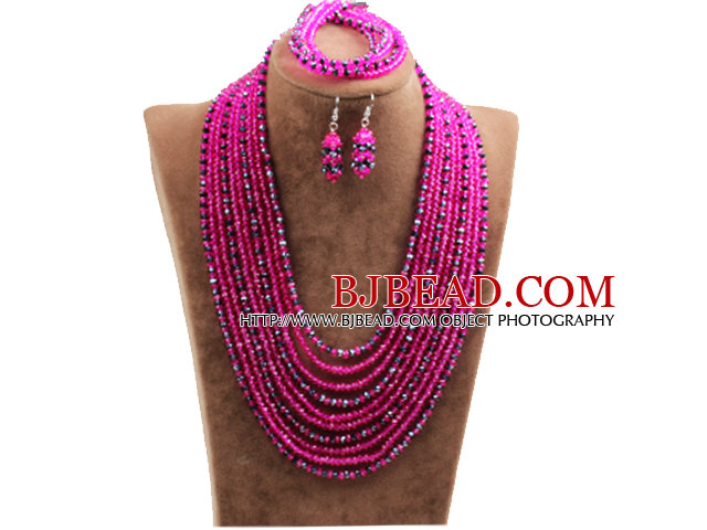 Fantastic Statement 10 Layers Rose Red & Black Crystal African Wedding Jewelry Set (Necklace, Bracelet & Earrings)