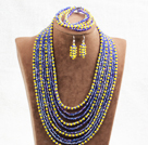 Fantastic Statement 10 Layers Yellow & Blue Crystal African Wedding Jewelry Set (Necklace, Bracelet & Earrings)