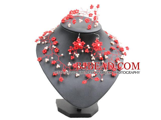 Trendy Style Woven Brench Shape White & Red Jade-like Crystal Jewelry Set (Necklace, Bracelet & Earrrings)