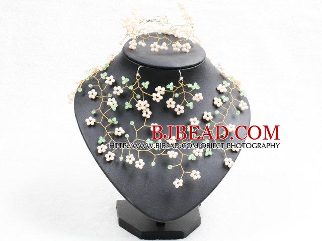 Trendy Style Woven Brench Shape Green & Apricot Jade-like Crystal Jewelry Set (Necklace, Bracelet & Earrrings)