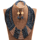 Beautiful Shining 10-Row Black & Orange Crystal Beads African Wedding Jewelry Set (Necklace, Bracelet & Earrings) under $ 30