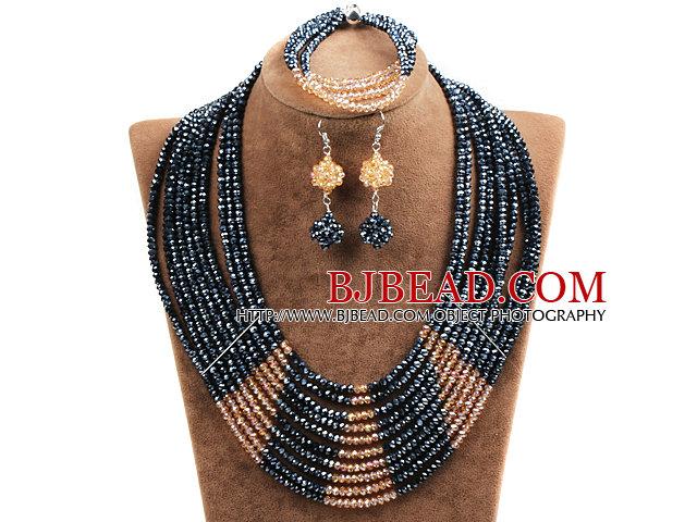 Beautiful Shining 10-Row Black & Orange Crystal Beads African Wedding Jewelry Set (Necklace, Bracelet & Earrings)