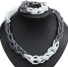 Unique Design Fashion Gray & White Jade-like Crystal Beads Jewelry Set (Necklace & Bracelet with Moonlight Clasp)