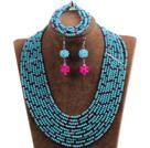 Fabulous 10-Row Blue & Rose Red Crystal African Wedding Jewelry Set (Necklace $ Bracelet & Earrings)