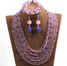 Fabulous 10-Row Pink & Blue Crystal African Wedding Jewelry Set (Necklace $ Bracelet & Earrings)