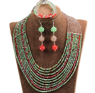 Hipanema 10-Row Green & Brown & Red Crystal African Wedding Jewelry Set (Necklace $ Bracelet & Earrings)