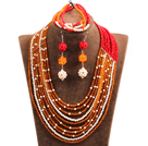 Hipanema 10-Row Orange & Red & White Crystal African Wedding Jewelry Set (Necklace $ Bracelet & Earrings) under $ 100