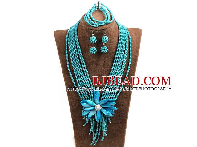 5f3c9efc36b138 Oświadczenie Płynnego wielowarstwowy Zielony Jade-jak kryształowe koraliki  Big Shell Flower zestaw biżuterii (naszyjnik i bransoletka i kolczyki)