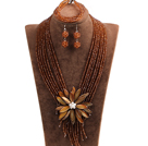 Statement Graceful Multi Layer Brown Crystal Beads Big Shell Flower Jewelry Set (Necklace & Bracelet & Earrings)
