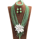 Statement Graceful Multi Layer Green Crystal Beads Big White Shell Flower Jewelry Set (Necklace & Bracelet & Earrings)
