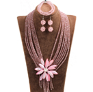 Statement Graceful Multi Layer Pink Crystal Beads Big Shell Flower Jewelry Set (Necklace & Bracelet & Earrings)