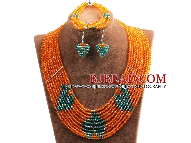 Fantastic Pretty Multi Layer Orange & Green Heart Pattern Crystal Beads Jewelry Set (Necklace & Bracelet & Heart Earrings)