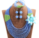 Gorgeous Multi Layer Blue & Green Crystal Beads African Wedding Jewelry Set With Statement Crystal Flower(Necklace, Bracelet & Earrings)