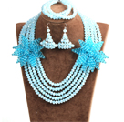 Sparkly Multi Layer Blue Crystal Beads African Wedding Jewelry Set With Statement Crystal Flower (Necklace, Bracelet & Earrings)