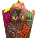 Hipanema Colorful Multi Layer Crystal Beads African Wedding / Party Jewelry Set (Necklace, Bracelet & Earrings)