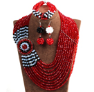 Beautiful Ethnic Style 10-Row Red & Black & White Crystal Beads African Wedding Jewelry Set (Necklace, Bracelet & Earrings)