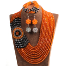 Mooie Etnische Style 10-Row Orange & Black & Wh...