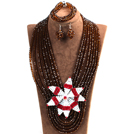 Statement Party Style Multi Layer Brown Crystal Beads African Costume Jewelry Set With Big Flower (Necklace, Bracelet & Earrings)