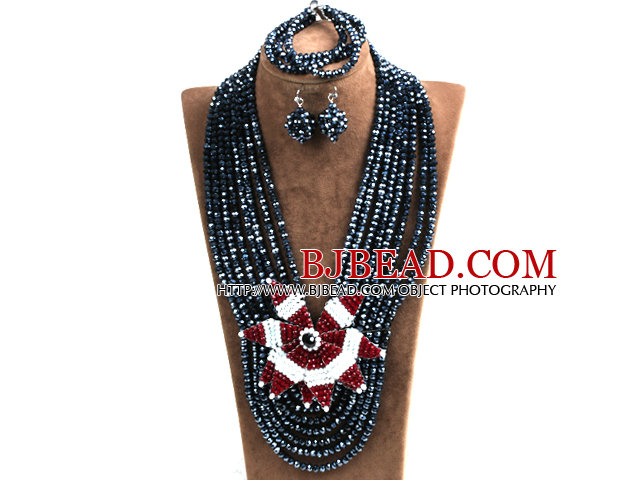 Statement Party Style Multi Layer Black Crystal Beads African Costume Jewelry Set With Big Flower (Necklace, Bracelet & Earrings)