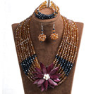Elegant Multi Layer Brown & Black Crystal Beads Costume Jewelry Set with Statement Purple Shell Flower (Necklace, Bracelet & Earrings)