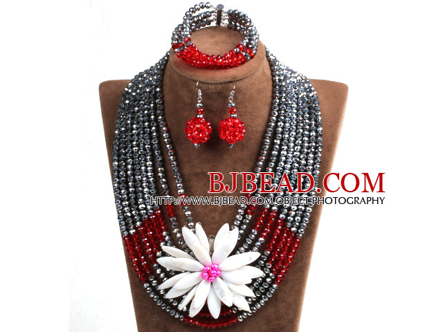Elegant Multi Layer Silver & Red Crystal Beads Costume Jewelry Set with Statement White Shell Flower (Necklace, Bracelet & Earrings)