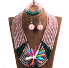 Elegant Multi Layer Pink & Dark Green Crystal Beads Costume Jewelry Set with Statement Colorful Shell Flower (Necklace, Bracelet & Earrings)