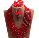 Fabulous Multi Layer Red & Brown Crystal Beads African Costume Jewelry Set (Necklace, Bracelet & Earrings)