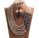 Fabulous Multi Layer Champagne & Purple Crystal Beads African Costume Jewelry Set (Necklace, Bracelet & Earrings)