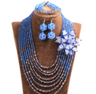 Popular Style Multi Layer Blue & Brown Crystal Beads African Wedding Jewelry Set with Statement Crystal Flower (Necklace, Bracelet & Earrings)