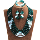 Popular Style Multi Layer Dark Green & White Crystal African Wedding Jewelry (Necklace, Bracelet & Earrings)