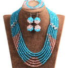 Popular Style Multi Layer Bright Blue & Pink Crystal African Wedding Jewelry (Necklace, Bracelet & Earrings)
