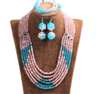 Popular Style Multi Layer Bright Pink & Blue Crystal African Wedding Jewelry (Necklace, Bracelet & Earrings)